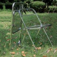 Camp Mobiliário Transparente Cadeira Acrílico Dining Stool Moda Red PO Roupas Loja Makeup Dobrável Casa Jardim Cadeiras