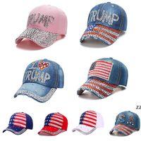 Bling Diamond Trump Baseball Cap USA Election Campaign Cappello Cowboy Diamonds Caps Regolabile Snapback Donne Denim Hats HWWE8062
