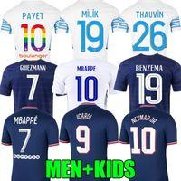 21 22 마르세유 축구 유니폼 Olympique Milik Maillot 드 발 2021 MBappe 벤제 메이즈 만 (Mbappe Benzema) Griezmann Neymar Payet Thauvin 남자 아이들 축구 셔츠 Kante Icardi Marquinhos
