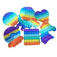 Rainbow Divertente Push Pop It Fidget Simple Dimple Toy Autism Educational Autism Giocattoli Decompressione Fat Braf Brain Stress Sollier Mano per bambini adulti