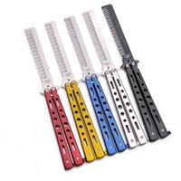 الملونة الفولاذ المقاوم للصدأ الشعر الجمال للطي الشارب اللحية سكين مشط أدوات تجميل فرشاة للرجال قطع مقص 210302