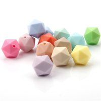 100PCS Food Grade Solicone Chewable Icosahedron Beads 14mm F...