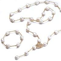 ファッションバロック様式の真珠のセット9-10mm多色淡水真珠のネックレスブレスレットブライダルジュエリーセット誕生日プレゼント