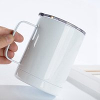 12oz Sublimation Blanks Coffee Mugs With Handle Lids Blank Thermal Transfer Tumblers Stainless Steel Drinking Cup CYZ3221 90Pcs
