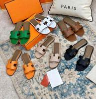 2021 Designer Donne Sandali Ladies Luxury Genuine Pelle H Pantofole Pantofole Piatta Scarpe da sandalo Oran Orlan Scarpe da sposa con scatola taglia 35-42
