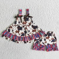 Wholesale Children Kids Boutique Clothing Sets Summer Sleeveless Baby Girls Clothes Cows Design Toddler Outfits Milk Silk Ruffle Shorts Kid Outfit
