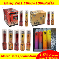 Bang XXL Pro Max Interligível Vape De Vape Descartável 1000 + 1000 Puffs 2 em 1 Vações Descartáveis POD Device Kit Bang XXTRA