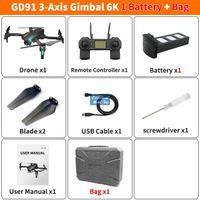 GD91 MAX DRONE 3 -AXIS GIMPLE Anti-Shake, 5G 6K-Kamera 50x Zoom, Bürstenloser Motor, GPS Smart Follow, RC-Entfernung 1.2km, 25-minütige Fliegenzeit, 2-2