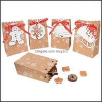 Decorations Festive Supplies Home & Garden4Pcs Dstring Christmas Kraft Paper Bag Snowflakes Candy Gift Bags Cookie Packaging Boxes White Tag
