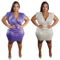 Femmes robe paillettes patchwork violet molle-robe mini robe femme v-cou fête nuit club élégant robes en gros plus grande taille vêtements