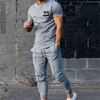 2021 spring   summer men's short sleeve T-shirt sports suit