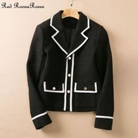Women's Jackets Red RoosaRosee Fashion Spring Autumn Women Turn-down Collar Long Sleeve Pockets White Patchwork Short Coat Overcoat Female