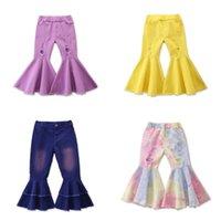 Çocuk Kız Kot Toddler Bebek Çocuk Çocuk Kız Giysileri Çan Alt Delik Ruffed Ruffles Flare Denim Kot Pantolon Pantolon 3236 Q2