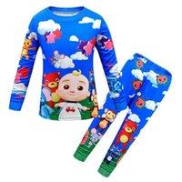Meninos meninas cocomelon jj baby 2pcs pijamas crianças pijama dos desenhos animados conjunto crianças sleepwear manga comprida pulôver camiseta e calças leggings roupas de pano casual g80fqrh