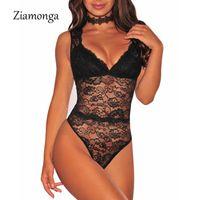 Ziamonga sem mangas oco out lace bodysuit mulheres terno corpo playsuit leotard sexy v pescoço macacão macacão feminino bodysuit curto