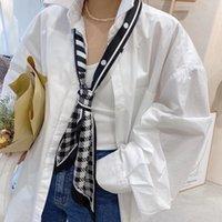 Neue Hahnentooth-Ribbon Small Seidenschal Womens Koreanische Stil lang spitzes Handtuch Dekorative Doppelschicht Satin Kleines Schal Haarband