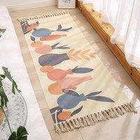 Carpets 2021 Home Simple Modern Ethnic Style Cotton And Linen Floor Mats Retro Plain Tapestry Handmade Carpet Bedroom Sofa Cushion Rug