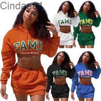 Women Two Piece Dress Designer Autumn Hip Wrap Short Skirt Long Sleeve Hooded Sweater Letters Printed Solid Colour Ladies Sportwear