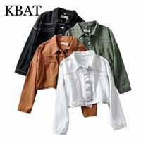 Women's Wool & Blends KBAT Fashion Women White Denim Jeans Jackets 2021 Streetwear Pocket Casual Pockets Coat Ladies Short Loose Style Tops