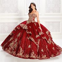 2022 Princess Dark Red Sequins Sweetheart Quinceanera Dresses Ball Gown Formal Prom Graduation Gowns Sweet 15 16 Dress Cinderella