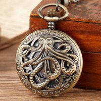 Pocket Watches Men's Antique Mechanical Watch Woman Chain Steampunk Captain Octopus Skeleton Bronze Hand Clock Gift For Men