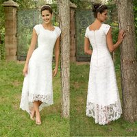 2021 Vintage Lace Wedding Dresses High Low Short Sleeves Square Tea Length Short Bridal Gowns A Line Country Wedding Dresses