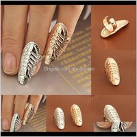 Fashion Fossil Alloy Gold Sier Fish Bone Band Women Statement Jewelry Finger Nail Art Sticker Rings Drop Delivery 2021 Yrjz4