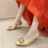 Dress Shoes Wedding Women Pumps High Heels Chinese Toast Red Stiletto Silk Bridal Nice