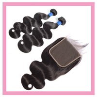 Indian Body Wave Bundles With 6X6 Lace Closure Baby Hair Free Middle Three Part 100% Human Hair Extensions 16-28inch