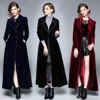 Women's Velvet Trench Coat Winter Runway Designer Female Vintage Notched Collar Wrap Black Velvet Thick Warm Long Women Trench Coat Outwear w228