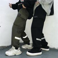 Women's Pants & Capris Ins Korean Style Clothing Pockets Elastic Waist Loose Straight Fashion Brand Black Autumn Casual