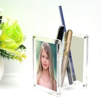 Transparent desk acrylic double-sided magnet photo frame pen holder, makeup table acrylic makeup brush with magnet photo frame storage tube