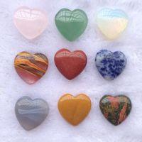 Coração de amor nu 20mm sete cor turquesa rosa quartzo ornamentos de pedra natural manusear mão peças DIY pedras colar acessórios