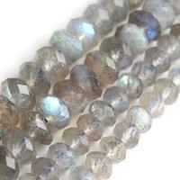 Naturel Gris Faced Grey Labradorite pierre Rondelle entretoise des perles lâches pour la fabrication de bijoux 3x5mm 4x7mm bricolant bricelet collier 15 pouces