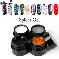 Monja 4 farben spider uv gel nagel art polnische lack linien design kreative malerei draht diy zeichnung gel maniküre dekorationen
