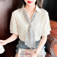 Women's Blouses & Shirts Summer Fashion Tops Chiffon Blusas Casual Solid Color V-neck Short Sleeve Korean