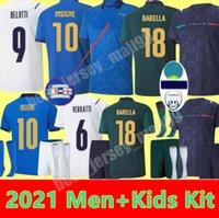 إيطاليا Soccer Jerseys 2021 2022 إيطاليا Barella Sensi Insigne 20 21 22 Euro Euro Cup Chiellini Bernardeschi كرة القدم قميص الرجال + أطفال مجموعة موحدة بعيدا