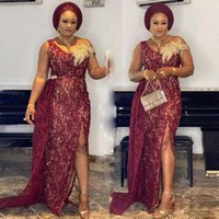 Aso Ebi Burgundy Side Split Evening Dresses V Neck Appliques Side Train Full Lace Mermaid Prom African Women Party Gowns