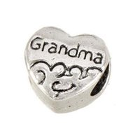 Beads Wholesales DIY European Bangles Material Alloy Jewellery Beaded Heart Grandma Vintage Silver Large Round Hole Fashion Jewelry Components 10x10x7mm 100pcs