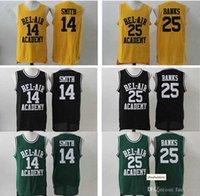 Der frische Prinz von Bel-Air Academy # 14 Will Smith Jersey Herren Billig Color Black Green Yellow Bel-Air 25 Carlton Banken Basketball Jersey