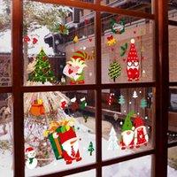 귀여운 산타 클로스 창 유리 스티커 창 휴일 장식 크리스마스 셔터 스티커 장면 배열 HWD9184