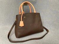 Vente chaude sac à main de luxe rétro 3a qualité classique de la marque 28 * 21cm Sac de shopping cuir grand capacité sac à main Lady bandoulière 2 couleurs