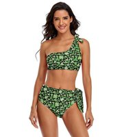 One-Piece Suits Leaf Bikini Swimsuit With Ties Chic Swimwear Fitness Two Piece For Big Breasts Bathing Suit