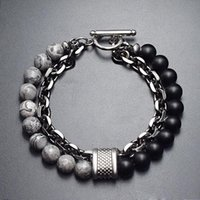 Alex Ani Natural Frosted Stones Bracelet for Men Double-Layer Chain Link Bangle Wristband Fashion Charm Jewelry