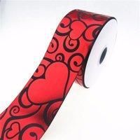 """100Y / lot 75mm 3 """"Holographic Red Foil Hearts Grosgrain Nastro per San Valentino fai da te Materiale fatto a mano Benvenuto Order personalizzato1"""
