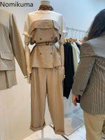 Calças de duas peças de duas peças Nomikuma Mulheres Coreanas Pant Conjuntos Hit Color Patchwork Manga Curta Top + Cintura Alta Longa Cinto Slim Elegante Ternos 6G149