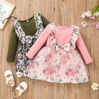 Girls Rose Flower Print Tulle Dress Fall 2021 Kids Boutique Clothing Korean 1-5T Children Long Sleeves Cotton Dresses