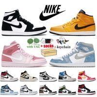 Nike Air Jordan 1 1s Retro Off White x Jordan 1 مقاس كبير في 13 مع صندوق أحذية كرة سلة للرجال والنساء ، أحذية كرة السلة تويست جمبمان ، أحذية رياضية هايبر رويال دارك موكا