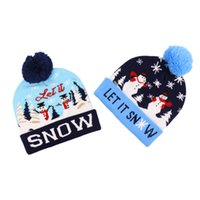 Winter Led Knitted Hats Designer Warm Pom Beanie With Moose Snowman Santa Claus Christmas Tree Jacquard Weave Gorro For Adults Mens Womens Children