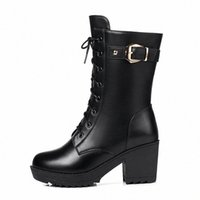 Lady's winter boots with velvet middle high chunky heels and thick soles cotton shoes y7v0#